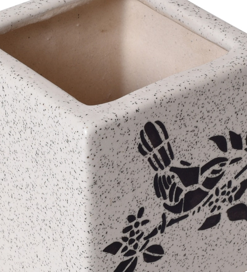 368b369dd80 Buy Black   Off White Handcrafted Ceramic Planter Pot by Unravel ...