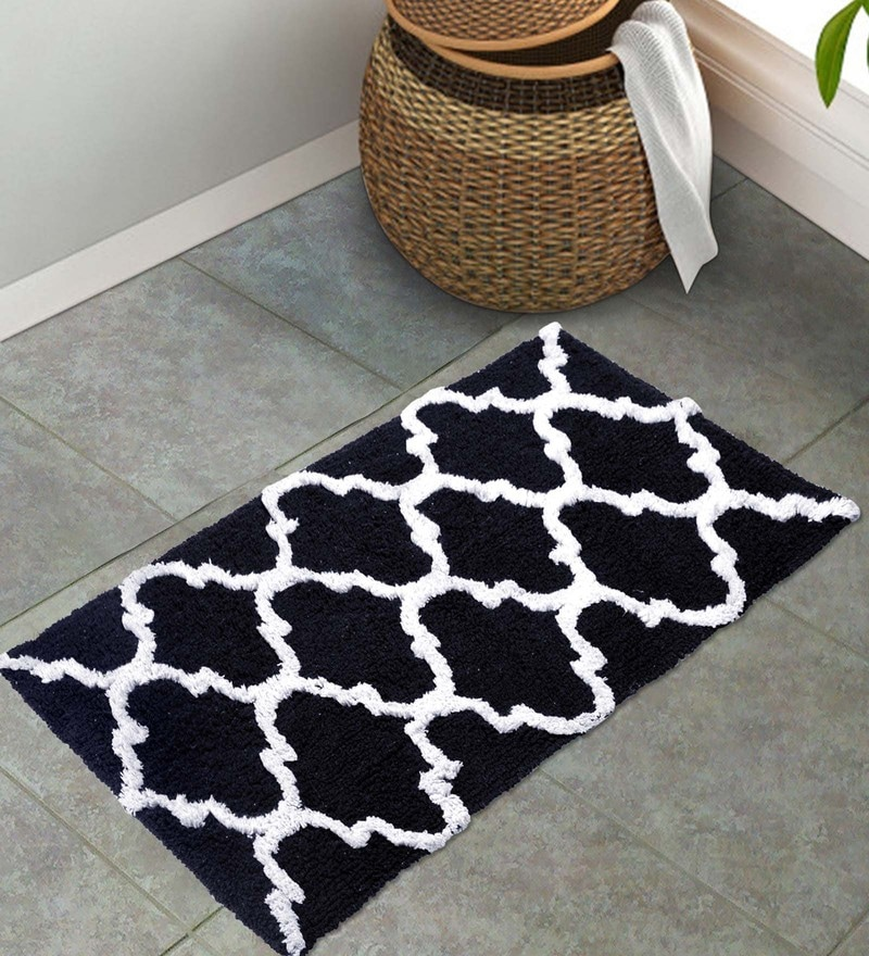 Black 100% Cotton 20 x 32 Inch Mat by S9home by Seasons