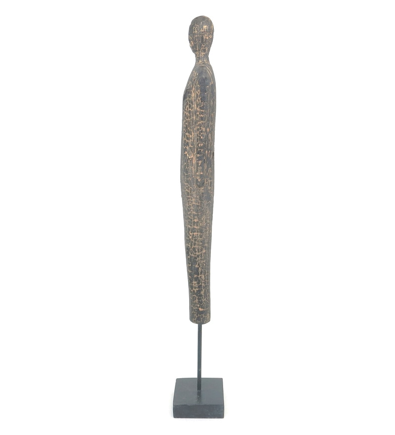 Black and Gold Mango Wood and Iron Tall Figure Metallic Charred Figurines by Forms