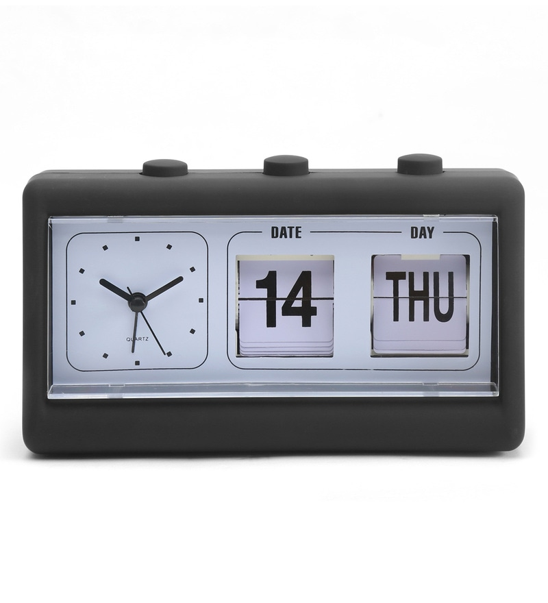 Black and White Plastic Analog Calender Table Clock With Snoozing Alarm Feature by @Home
