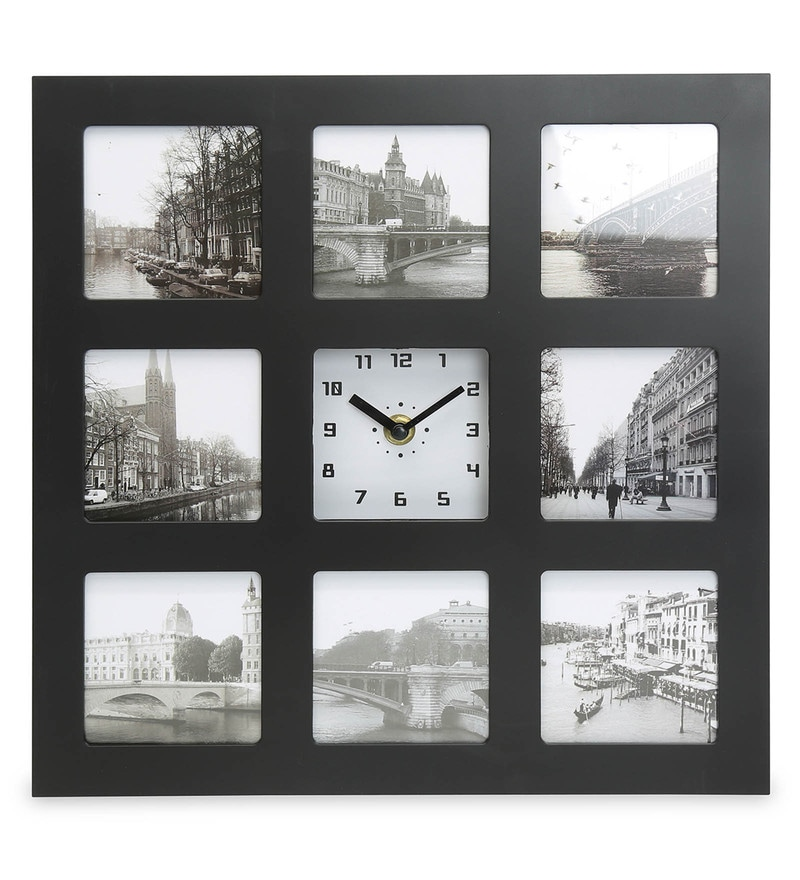 Black and White Plastic Analog Table Clock With Photo Frame by @Home