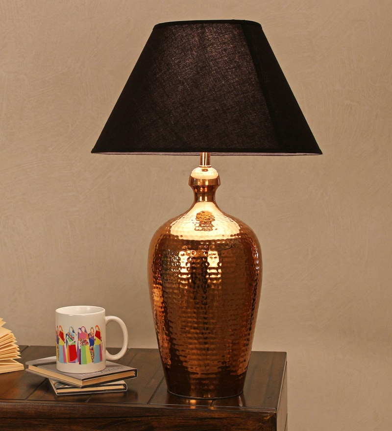 Black Cotton Table Lamp by The Light Store