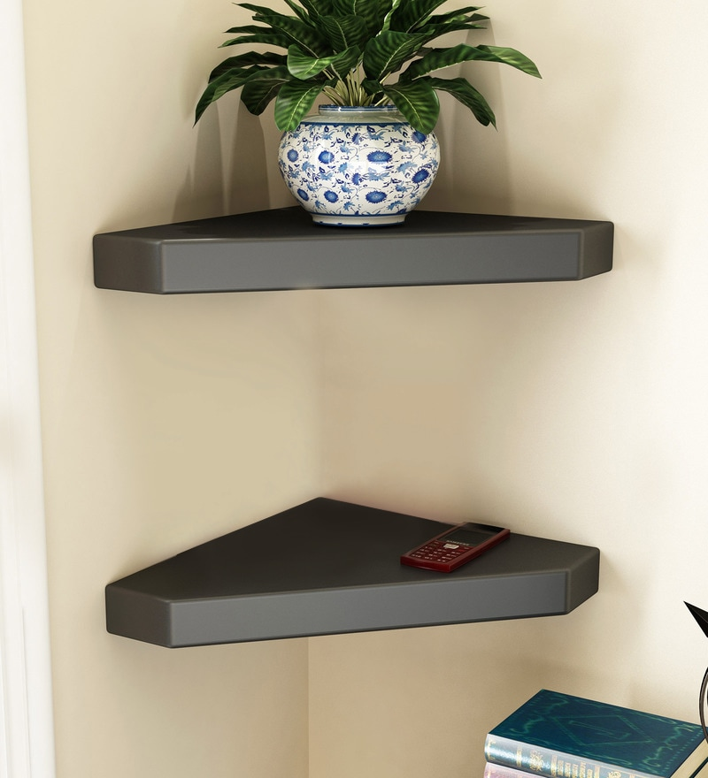 Black Engineered Wood Corner Wall Shelves - Set of 2 by Home Sparkle