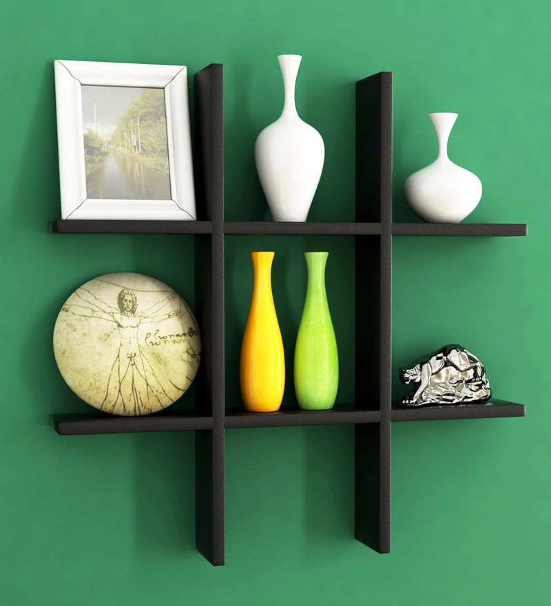 Buy Engineered Wood Wall Shelf In Black Colour By Home Sparkle Online Modern Wall Shelves Wall Shelves Home Decor Pepperfry Product