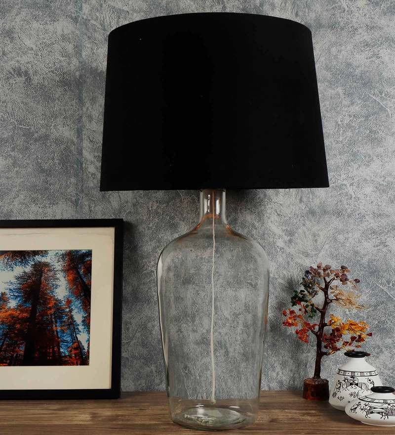 Black Shade Table Lamp With Glass Base, Black Glass Lamp Shades