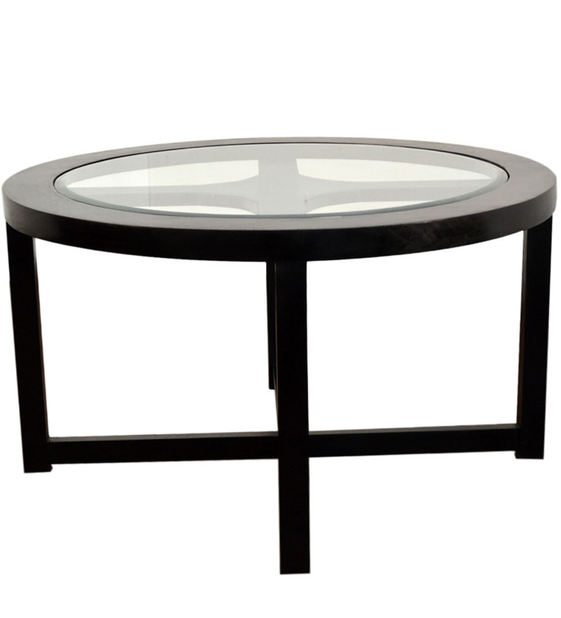 Square Coffee Table Vs Round: Black Forest Round Coffee Table With 4 Stools By Mudramark