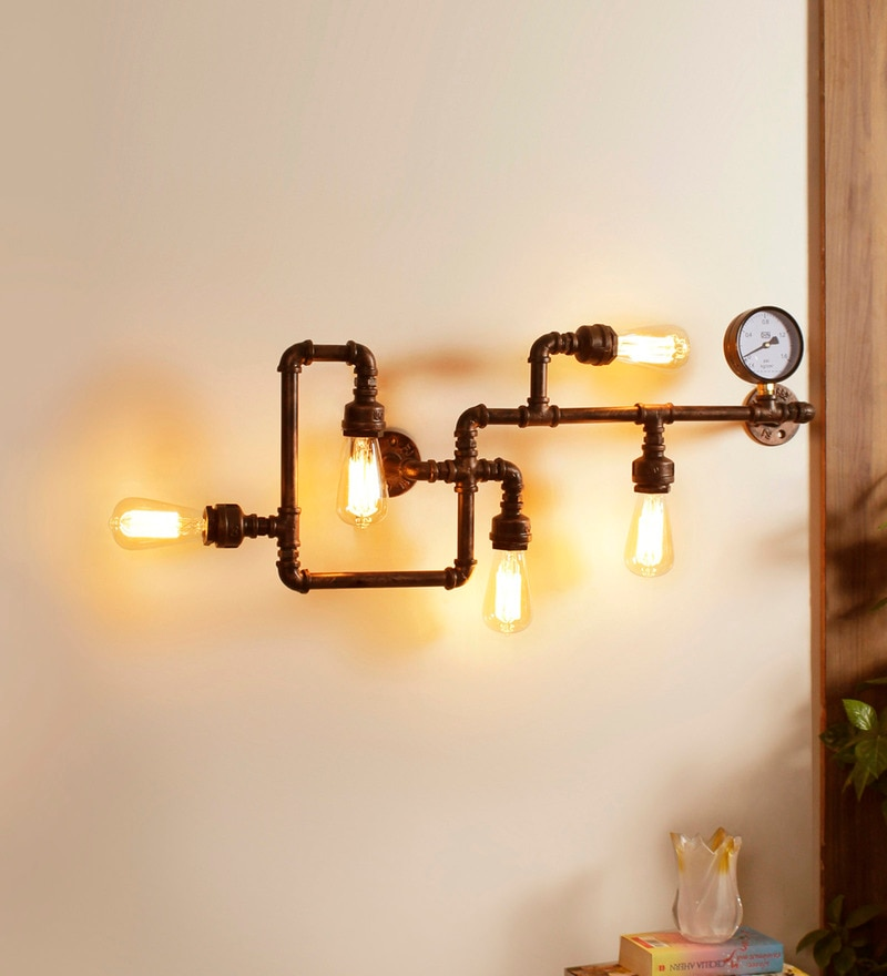 Black Metal Iron Pipe Wall Mounted Light by Jainsons Emporio