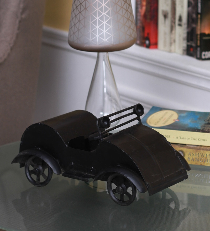 Black Metal Showpiece Vintage Car Collectible by Zahab