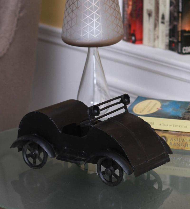 Black Metal Showpiece Vintage Car Collectible by Zahab