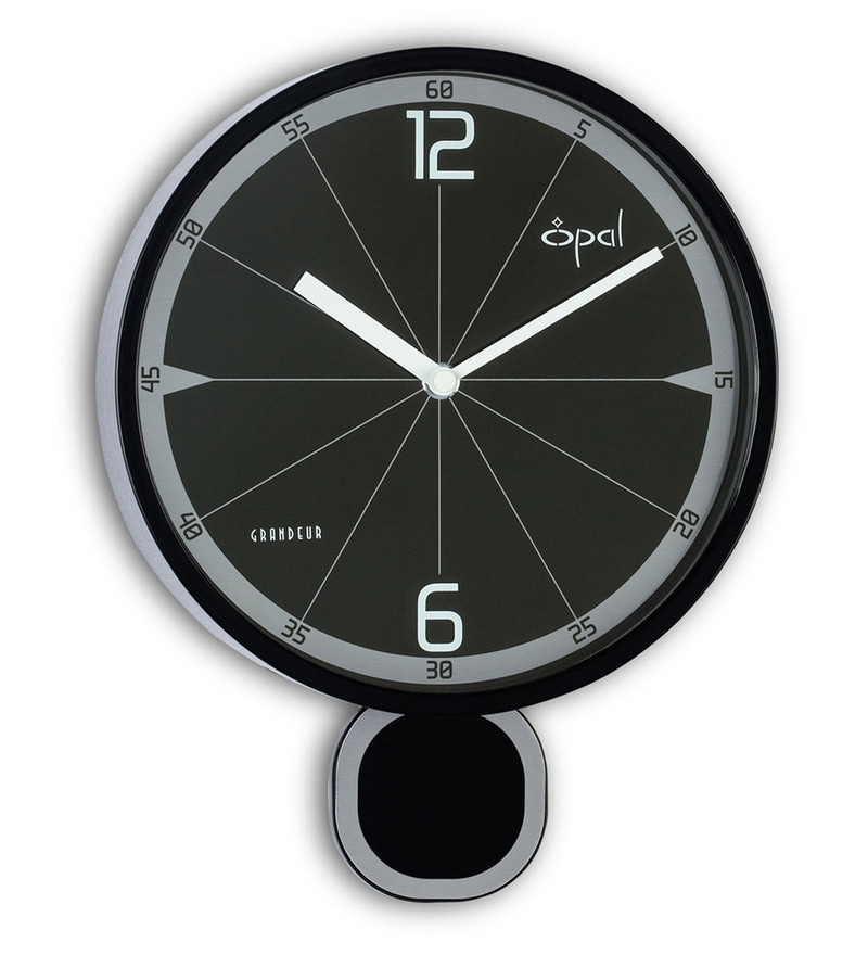 Black Plastic 8.5 Inch Designer Pendulum Abs Case Wall Clock by Opal