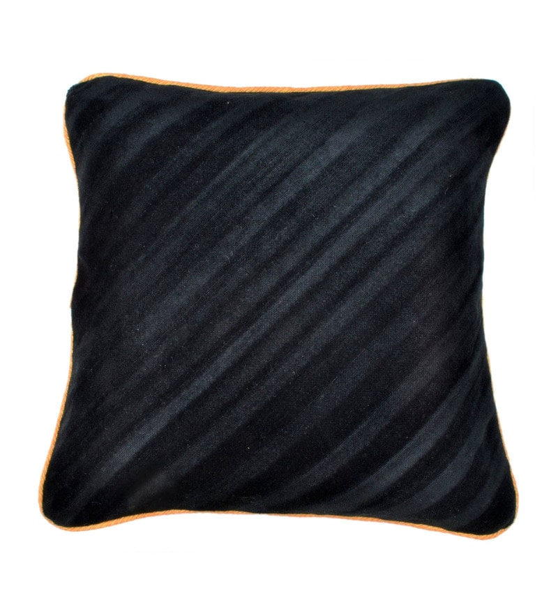 Black Polyester 16x16 Inch Cushion Cover by Dreamscape