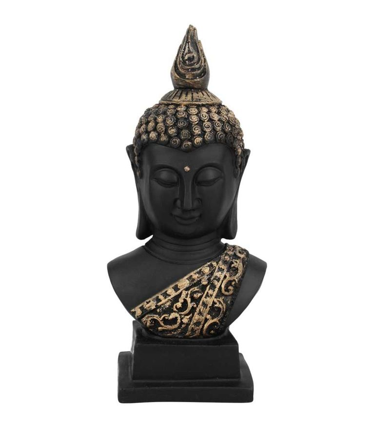 Black Polyresin Buddha Bust Room Decor Showpiece Gift Idol by Statue Studio