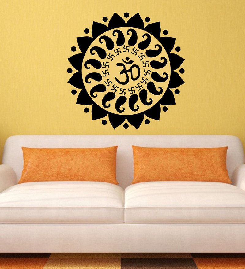 Black PVC Vinyl OM And Swastik Wall Sticker By Print Mantras