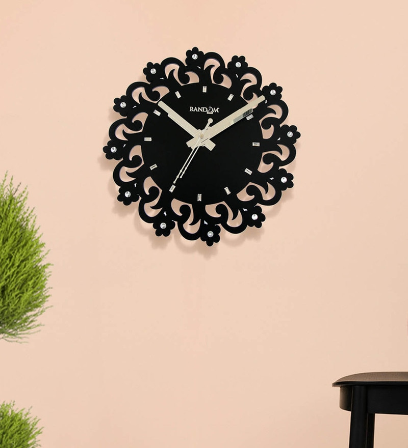 Black Wood 11.5 x 2 x 11.5 Inch Orchid Wooden Wall Clock by Random
