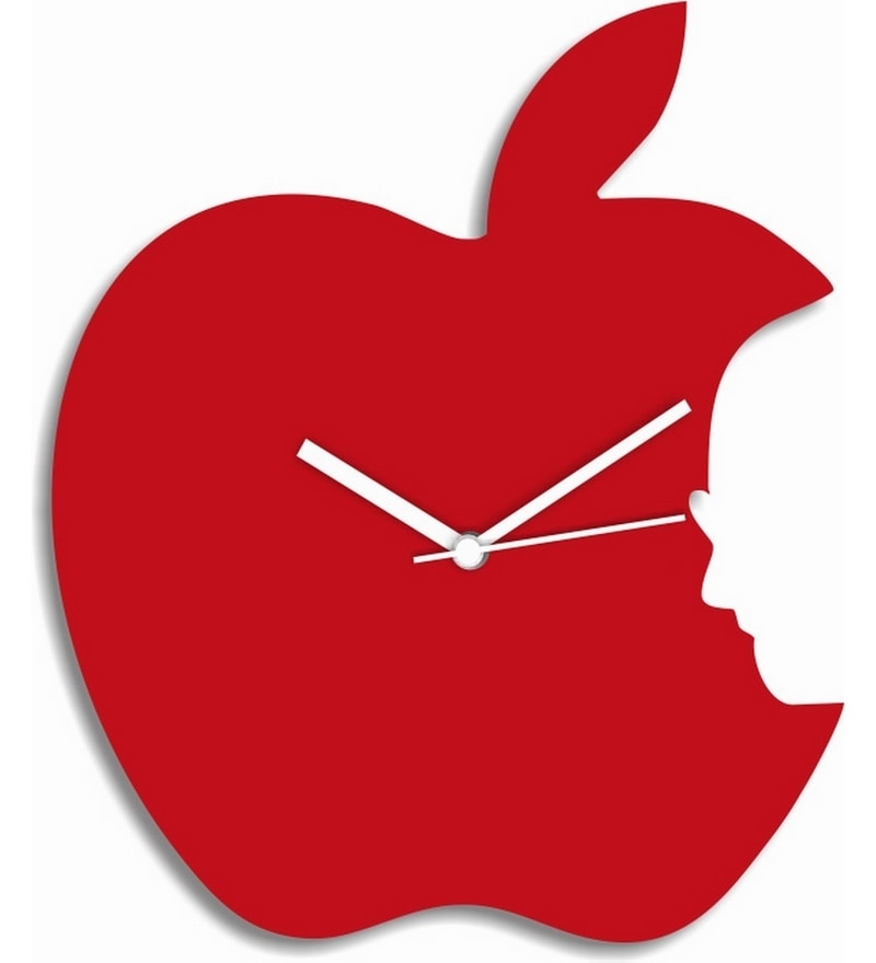 Blacksmith Red Coloured Apple Engineered Wood Wall Clock By