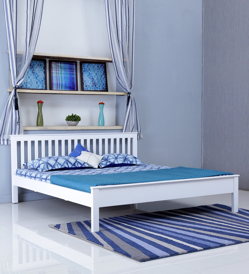 Sleek Modular Kitchens At Rs 250000 Unit: Buy Blanche Solid Wood King Size Bed In White Finish By