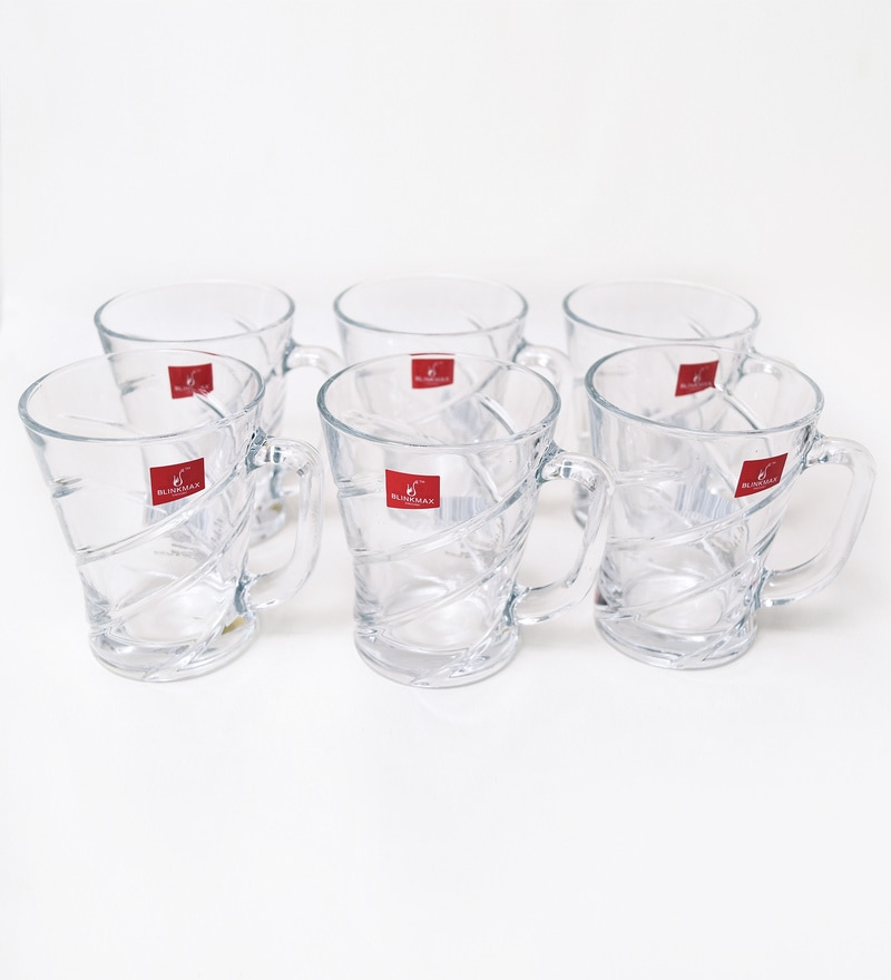 Blinkmax Cross Lining Glass 150 ML Tea Cups - Set of 6