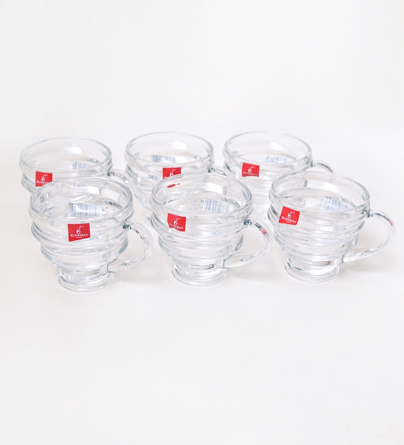 Blinkmax Marine Ring Glass 150 ML Tea Cups - Set of 6