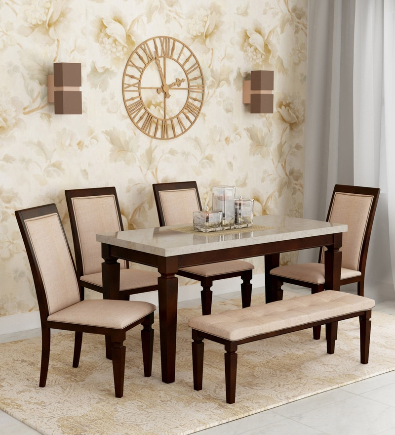 Pepperfry & Bliss Marble Top Six Seater Dining Set by HomeTown