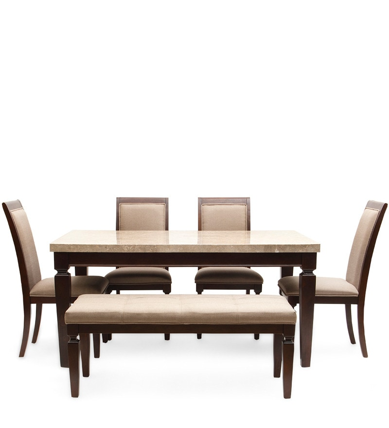 Buy bliss marble top six seater dining set by hometown online six seater dining sets dining - Dining tables buy online ...