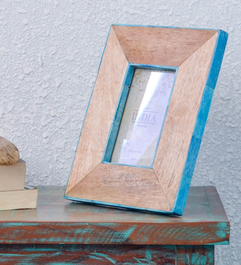 Blue & Brown Wood 5 x 1 x 7 Inch Handcrafted Photo Frame by Casa Decor