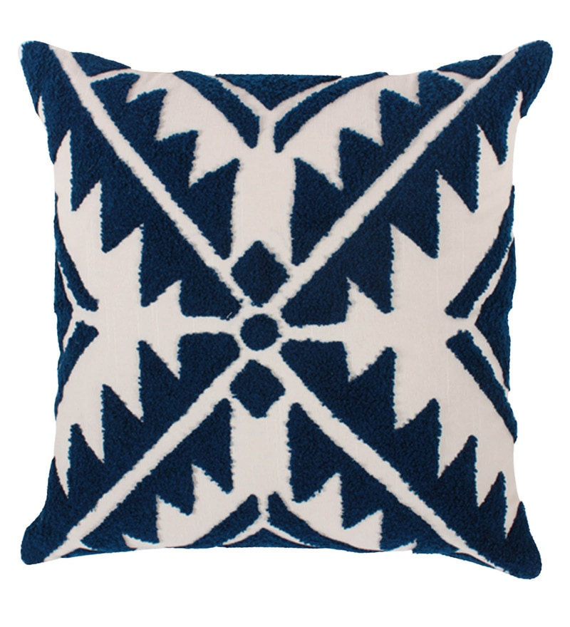 Blue & White Polyester 16x16 Inch Cushion Cover by Vista Home Fashion