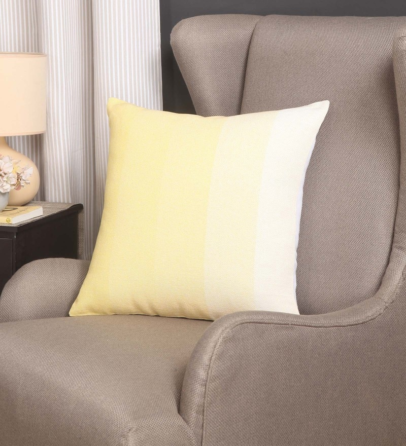 Yellow Cotton 20 x 20 Inch Maurice Rib Cushion Cover by Blue Alcove