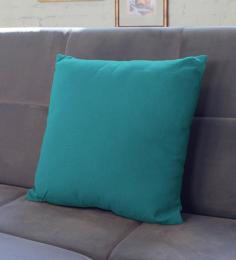 Blue Cotton 23.5 x 23.5 Inch Cushion Covers - Set of 2 by Encasa Homes