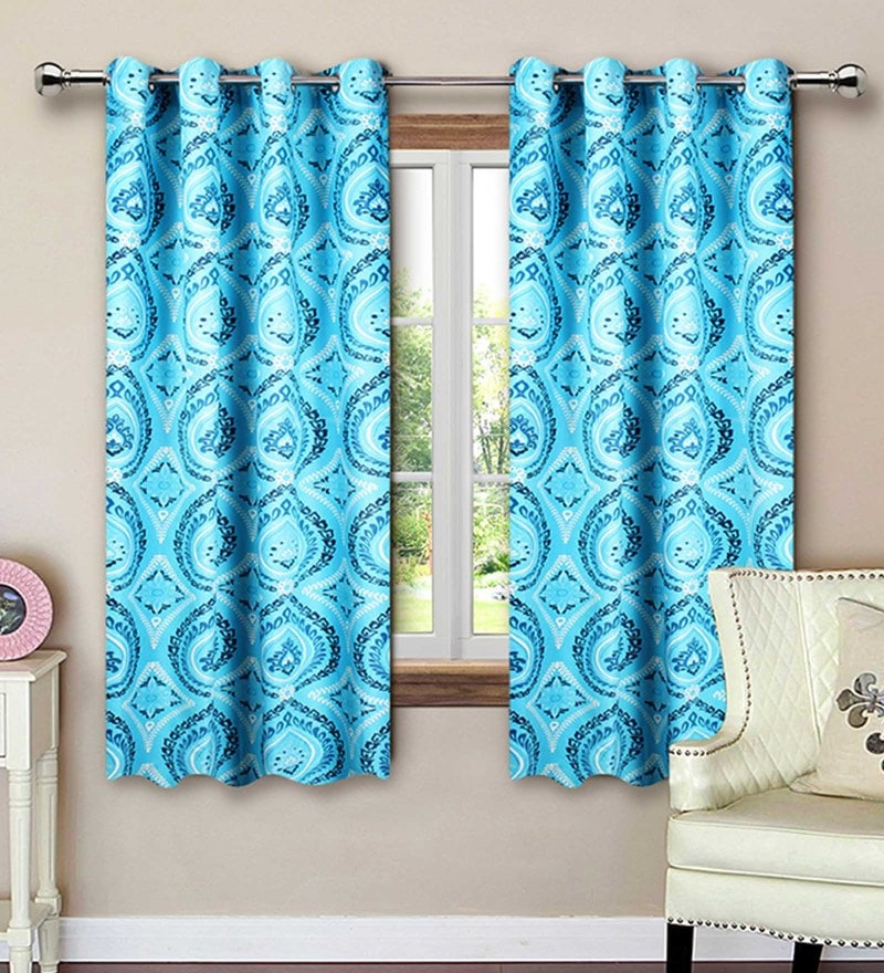Blue Cotton 62 x 53 Inch Floral Printed Window Curtain - Set of 2 by Vista Home Fashion