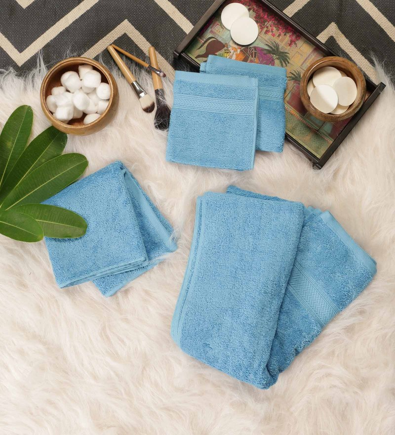 Blue Cotton Bath, Hand & Face Towel Set - Set Of 4 by SWHF