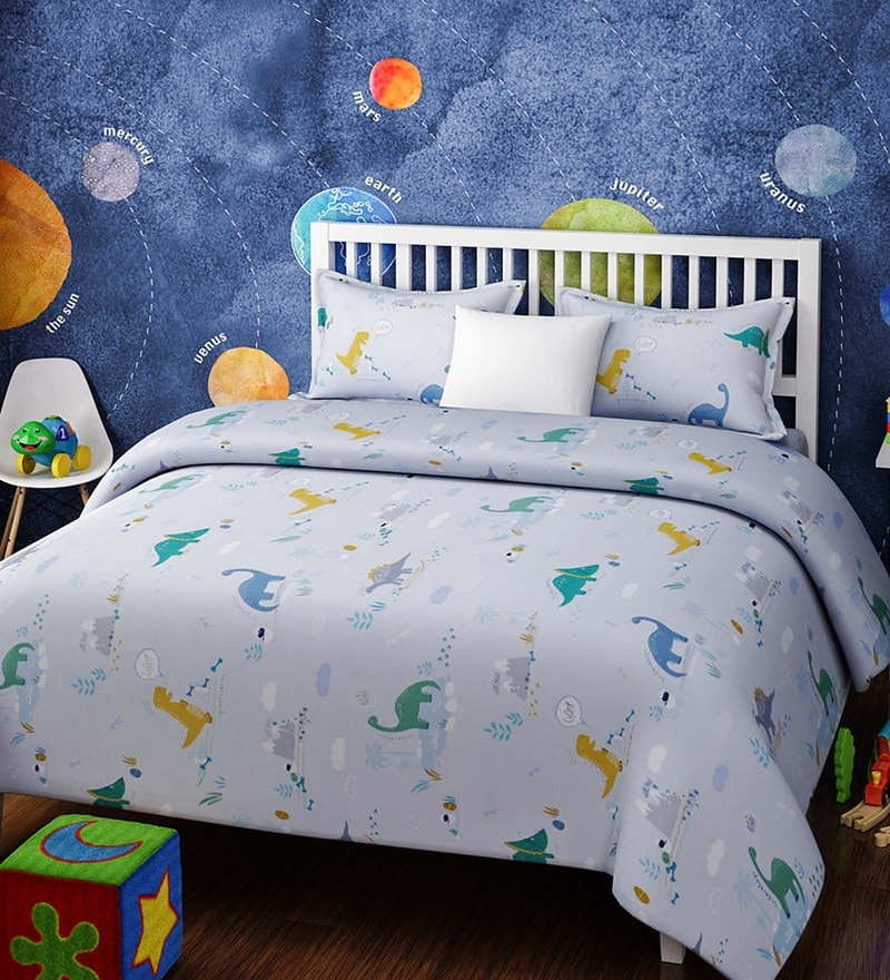Blue Cotton Queen Size Dinosaurs Kids Bedsheet - Set of 3 by Rago