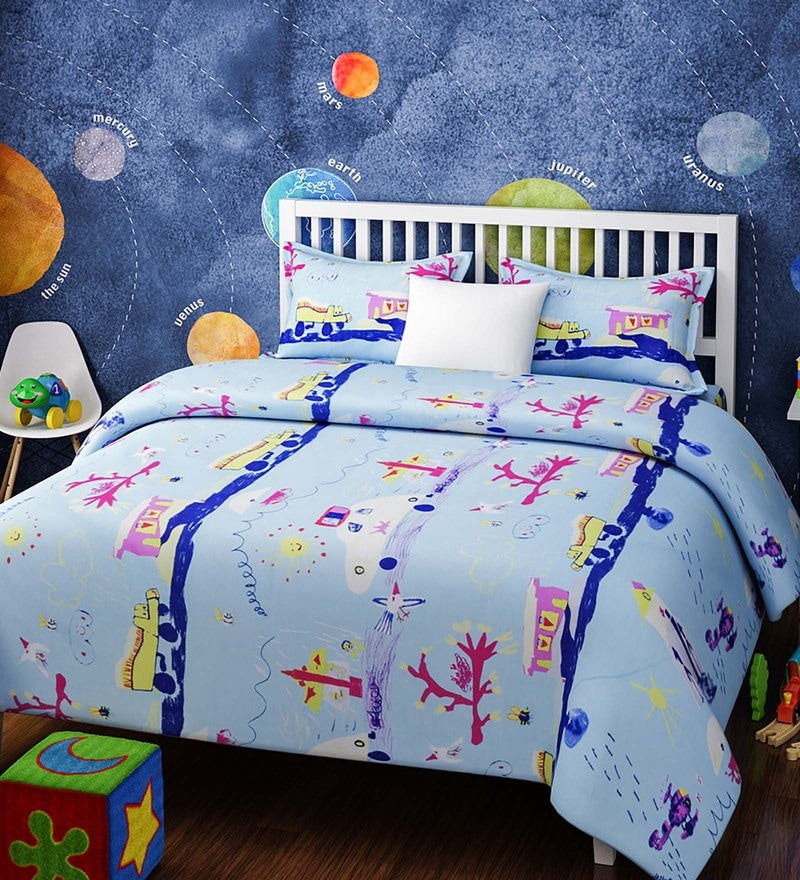 Blue Cotton Single Size Abstract Crayon Sketch Kids Bedsheet - Set of 2 by Rago