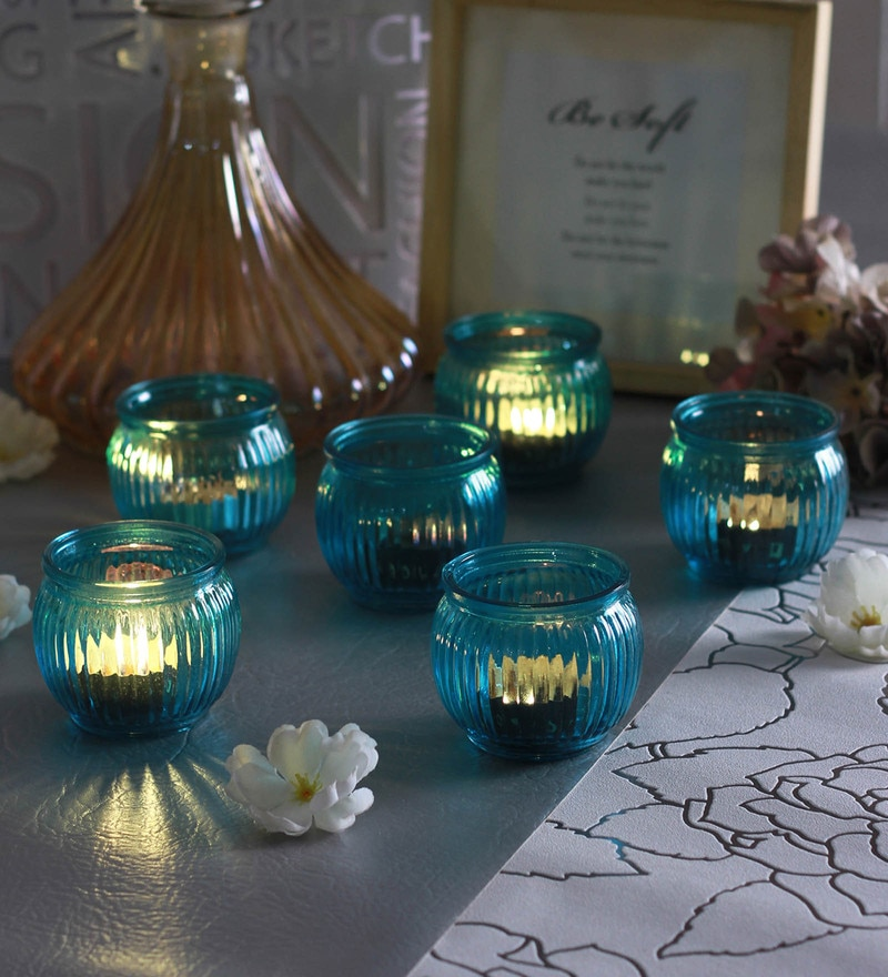 Blue Glass Candle Cup Tea Light Holders  - Set of 6  by Go 2