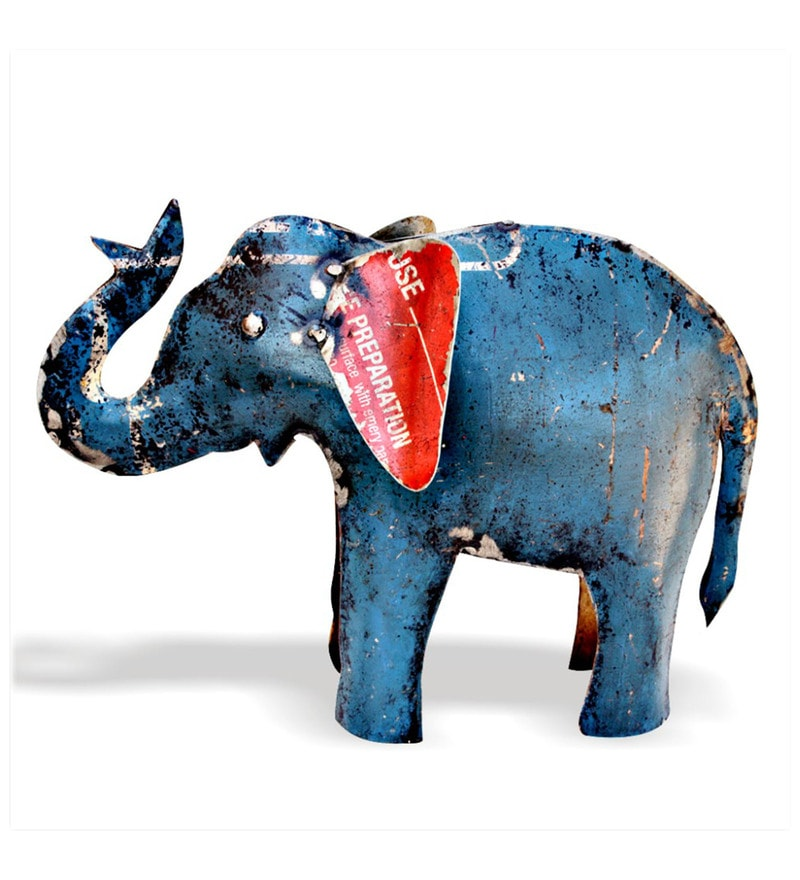 Blue Iron Elephant Showpiece by De Kulture Works