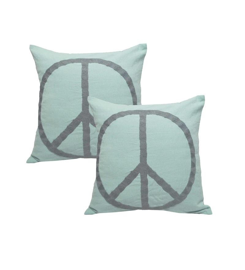 Blue Linen 20 x 20 Inch Cushion Covers - Set of 2 by R Home