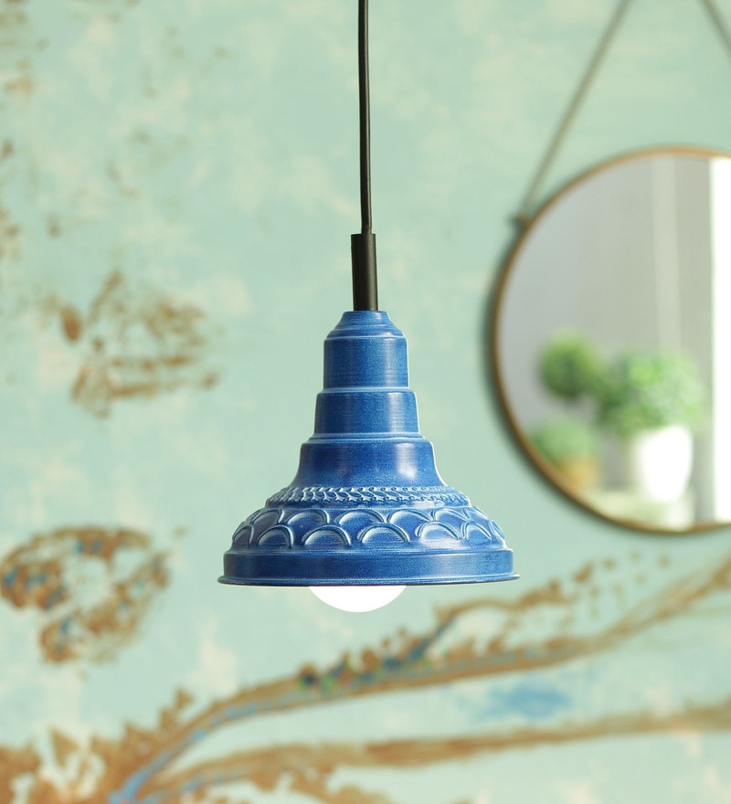Blue Metal Pendant Lamp by Height Of Designs