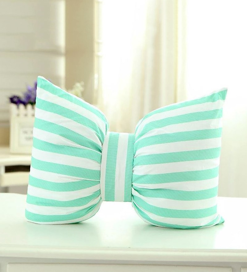 Blue Microfiber and Polyester 12 x 16 Inch Bow Cushion by StyBuzz