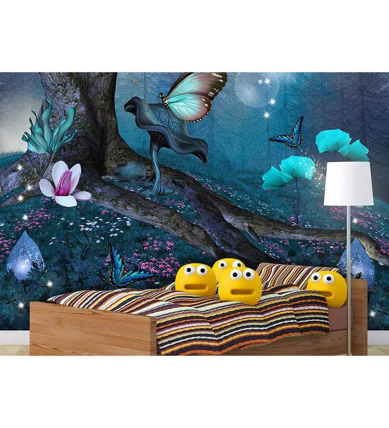 Blue Non Woven Paper The Magic Forest Wallpaper by Wallskin
