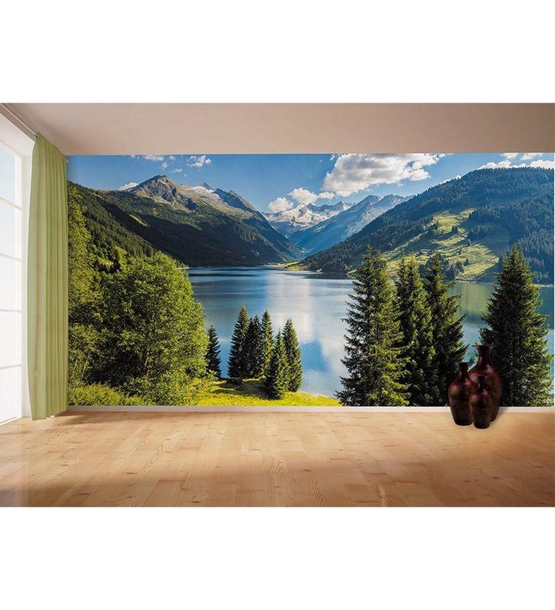 Blue Non Woven Paper The Mountain Calmness  Wallpaper by Wallskin