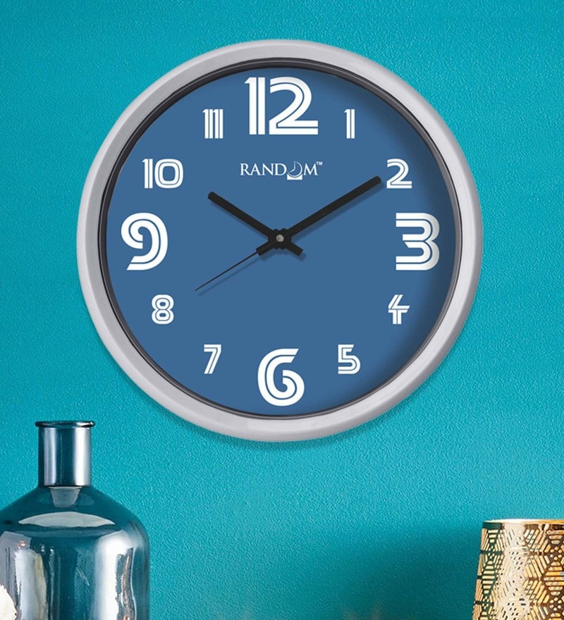 Blue Plastic 12 x 2 x 12 Inch Calvin Wall Clock by Random
