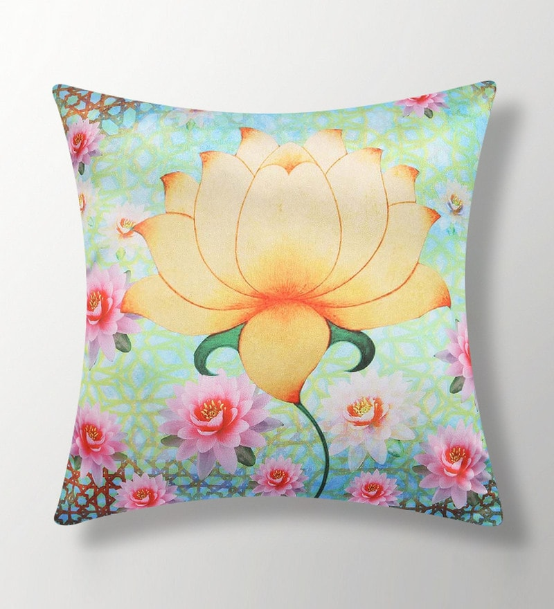 Blue Polyester 16x16 Inch Cushion Cover by Dreamscape
