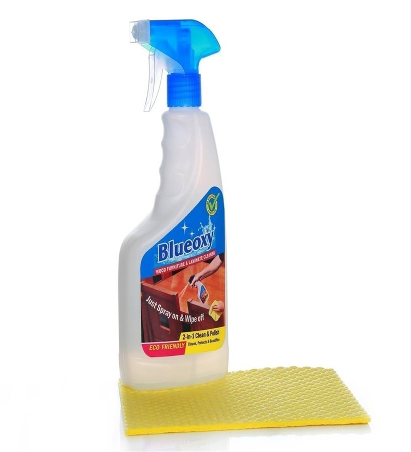 Blueoxy White 500 Ml Wooden Furniture & Laminate Cleaner with Cellulose Sponge Cleaner
