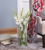 Clear Glass LSA Tall Square Base Vase by Bloomfields