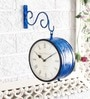 Blue Brass Double Side Vintage Railway Clock Wall Clock by Unravel India