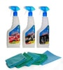 Blueoxy White 2000 Ml Waterless Car Wash Kit with Microfiber Towels & Cellulose Sponge Applicator