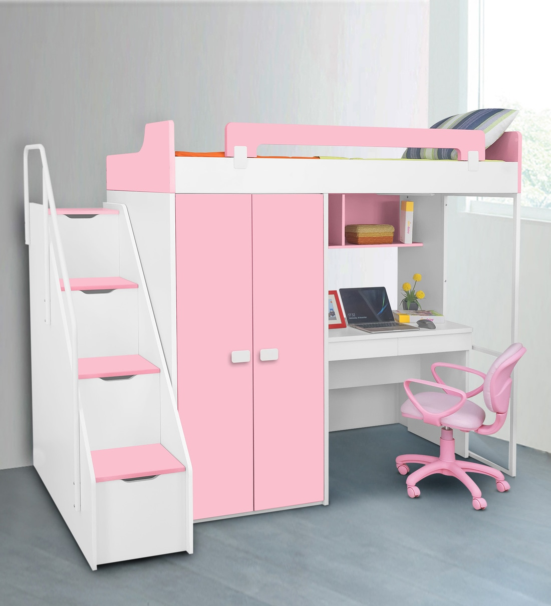 Picture of: Buy Boston Study Bunk Bed In Pink By Alex Daisy Online Bed Units Kids Furniture Kids Furniture Pepperfry Product
