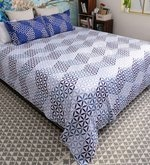 Blue 100% Cotton Queen Size Florentine Bed Sheet - Set of 3