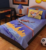 Cartoon Single-Size Cotton Bedsheet in Blue with Pillow Covers (Set of 2)