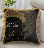 Black & Gold Polyester 16 x 16 Inch Buddha Face Embroidery Cushion Cover