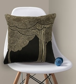 Black & Gold Polyester 16 x 16 Inch Bodhi Tree Embroidery Cushion Cover